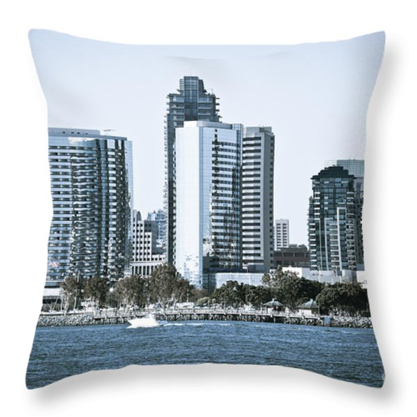 San Diego Downtown Waterfront Buildings Throw Pillow by Paul Velgos