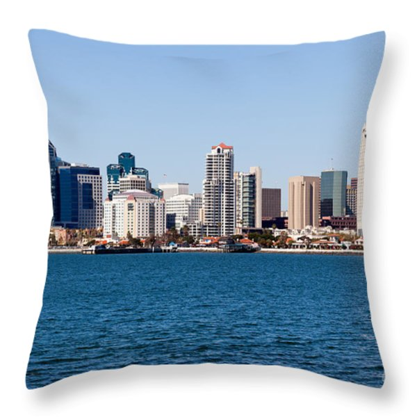 San Diego Skyline Buildings Throw Pillow by Paul Velgos