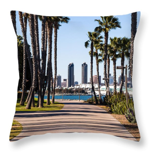 San Diego Skyline With Coronado Island Bayshore Bikeway Throw Pillow by Paul Velgos