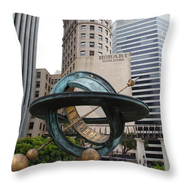 San Francisco - Hobart Building On Market Street Viewed From Top Of Crocker Galleria - 5d17872 Throw Pillow by Wingsdomain Art and Photography