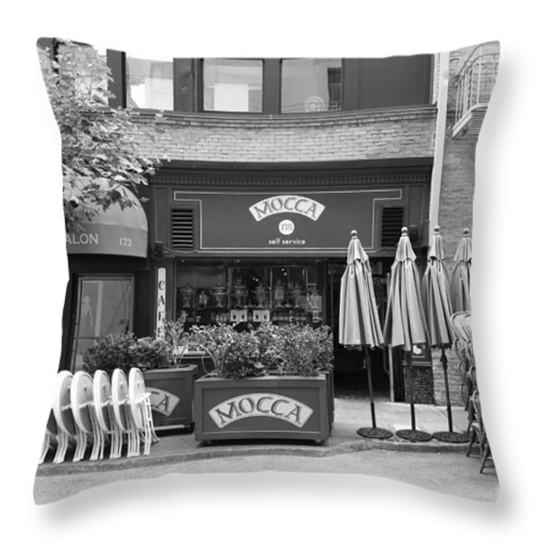 San Francisco - Maiden Lane - Mocca Cafe - 5d17788 - Black And White Throw Pillow by Wingsdomain Art and Photography