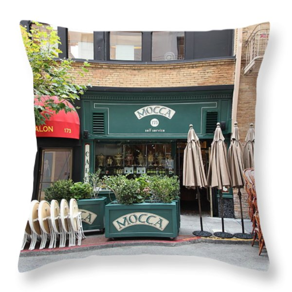 San Francisco - Maiden Lane - Mocca Cafe - 5D17788 Throw Pillow by Wingsdomain Art and Photography