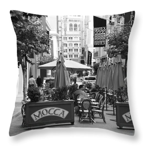 San Francisco - Maiden Lane - Outdoor Lunch at Mocca Cafe - 5D17932 - black and white Throw Pillow by Wingsdomain Art and Photography