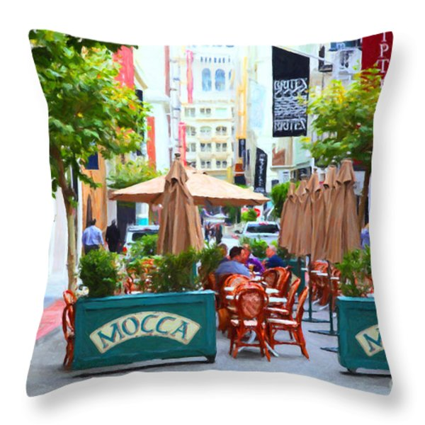 San Francisco - Maiden Lane - Outdoor Lunch at Mocca Cafe - 5D17932 - Painterly Throw Pillow by Wingsdomain Art and Photography