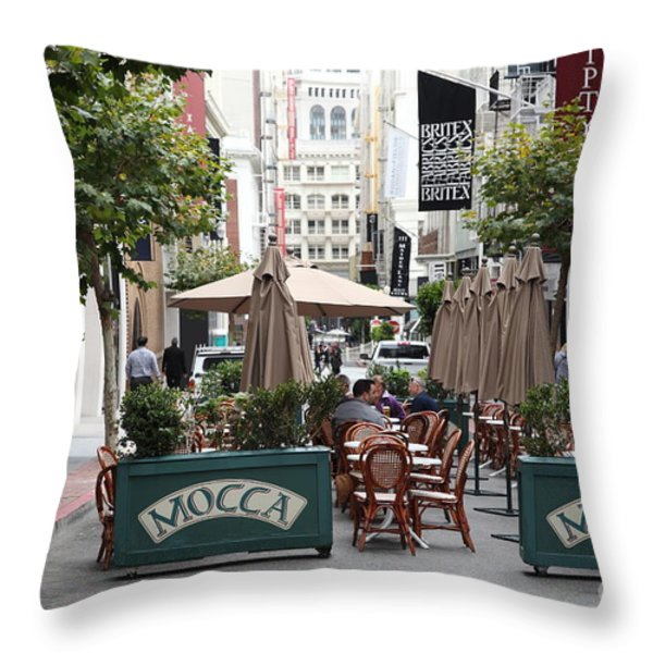 San Francisco - Maiden Lane - Outdoor Lunch at Mocca Cafe - 5D17932 Throw Pillow by Wingsdomain Art and Photography