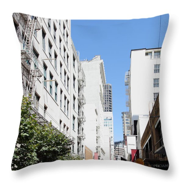 San Francisco - Maiden Lane - Outdoor Lunch At Mocca Cafe - 5d18011 Throw Pillow by Wingsdomain Art and Photography