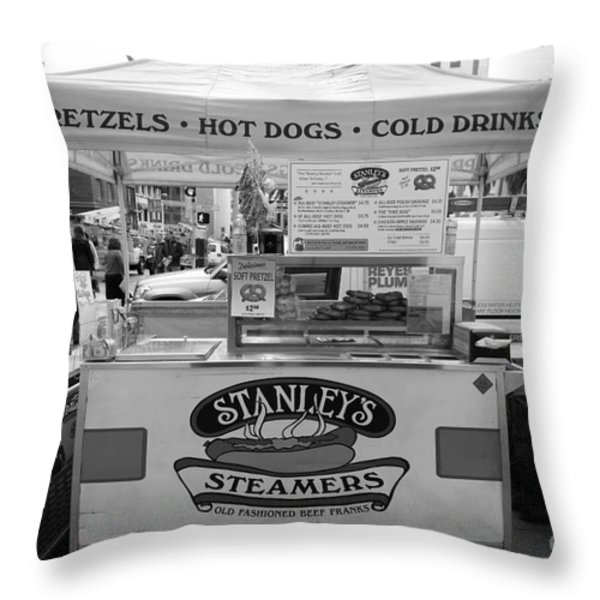 San Francisco - Stanley's Steamers Hot Dog Stand - 5D17929 - black and white Throw Pillow by Wingsdomain Art and Photography