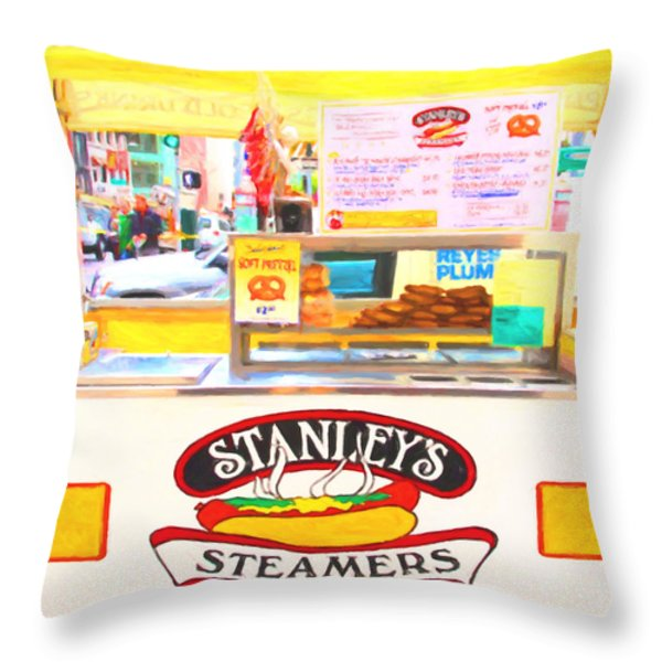 San Francisco - Stanley's Steamers Hot Dog Stand - 5D17929 - Square - Painterly Throw Pillow by Wingsdomain Art and Photography