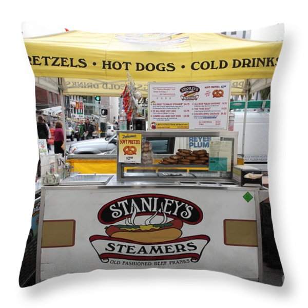 San Francisco - Stanley's Steamers Hot Dog Stand - 5D17929 Throw Pillow by Wingsdomain Art and Photography