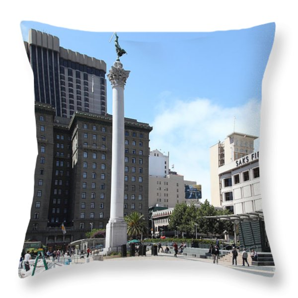San Francisco - Union Square - 5D17933 Throw Pillow by Wingsdomain Art and Photography