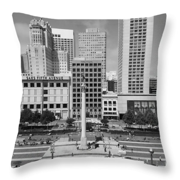San Francisco - Union Square - 5D17938 - black and white Throw Pillow by Wingsdomain Art and Photography