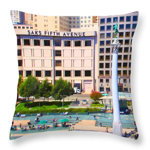 San Francisco - Union Square - 5D17938 - Square - Painterly Throw Pillow by Wingsdomain Art and Photography