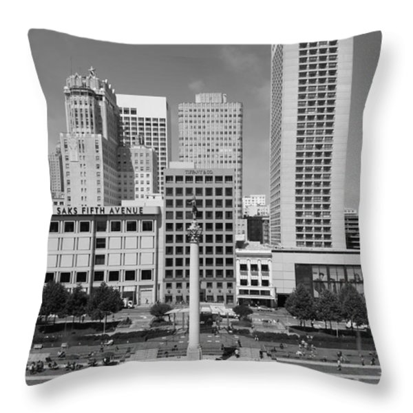 San Francisco - Union Square - 5D17941 - black and white Throw Pillow by Wingsdomain Art and Photography