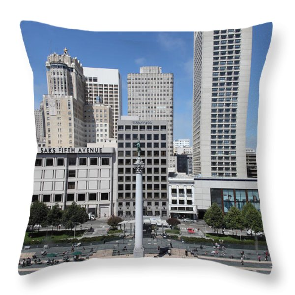 San Francisco - Union Square - 5D17941 Throw Pillow by Wingsdomain Art and Photography