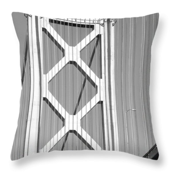 San Francisco Bay Bridge at The Embarcadero . Black and White Photograph . 7D7760 Throw Pillow by Wingsdomain Art and Photography