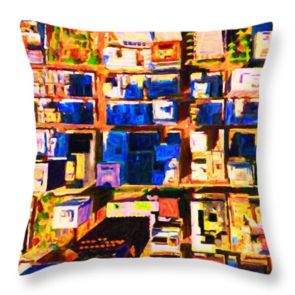 San Francisco Birdseye Abstract . Painterly Throw Pillow by Wingsdomain Art and Photography