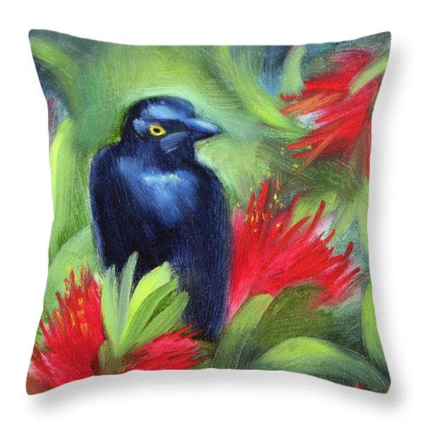 San Francisco Black Bird Throw Pillow by Karin  Leonard