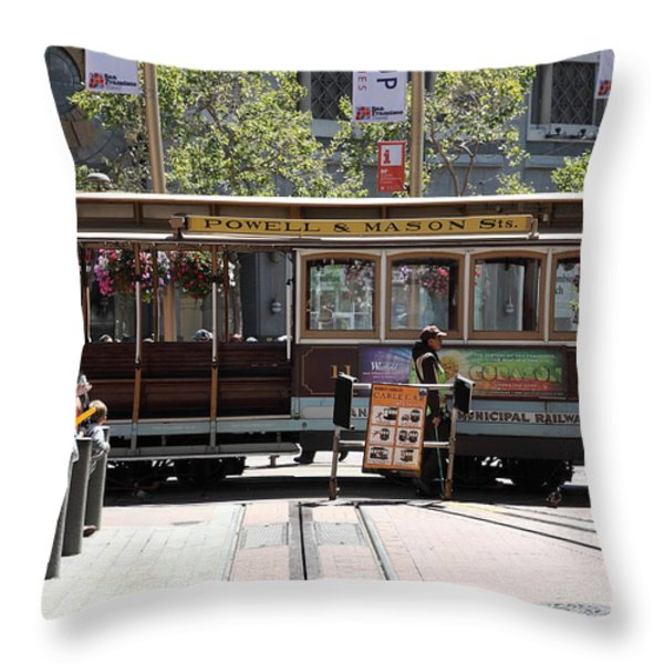 San Francisco Cable Car At The Powell Street Cable Car Turnaround - 5d17968 Throw Pillow by Wingsdomain Art and Photography