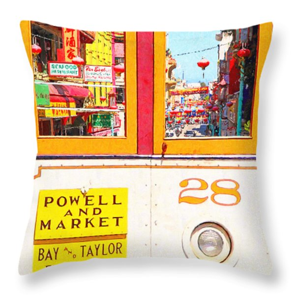 San Francisco Cablecar 28 . Chinatown Throw Pillow by Wingsdomain Art and Photography