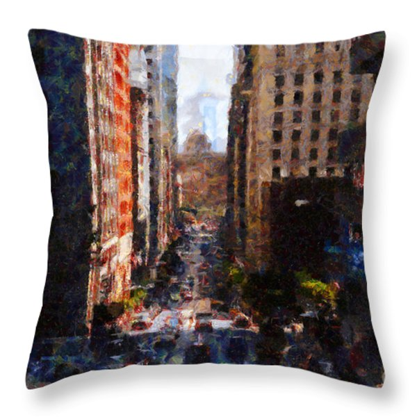 San Francisco California Street  . Painterly . 7d7186 Throw Pillow by Wingsdomain Art and Photography