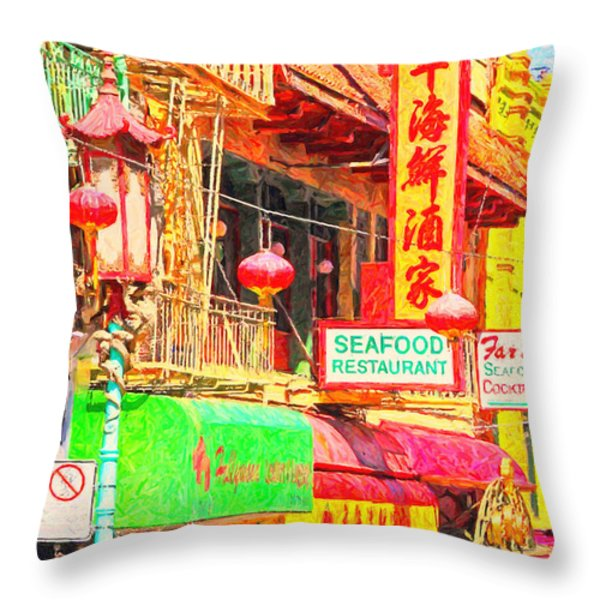 San Francisco Chinatown Shops Throw Pillow by Wingsdomain Art and Photography
