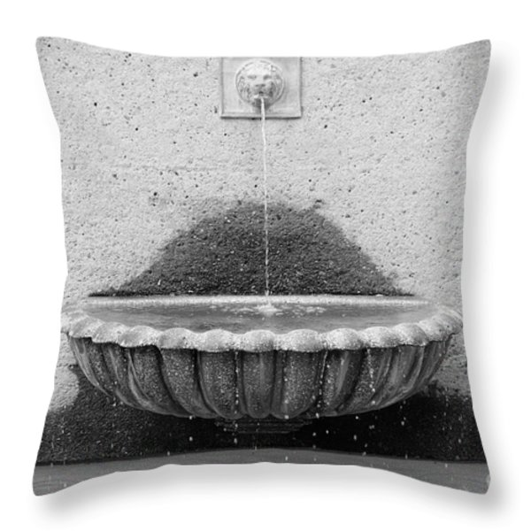 San Francisco Crocker Galleria Roof Garden Fountain - 5d17894 - Black And White Throw Pillow by Wingsdomain Art and Photography