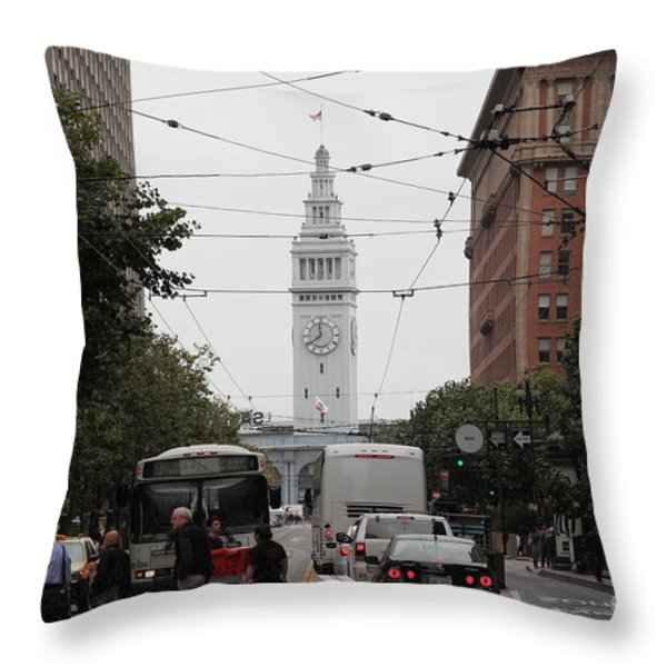 San Francisco Ferry Building at End of Market Street - 5D17865 Throw Pillow by Wingsdomain Art and Photography