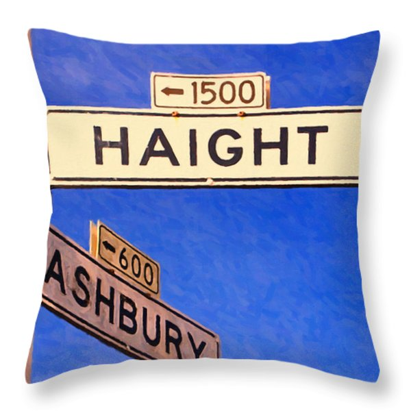 San Francisco Haight Ashbury Throw Pillow by Wingsdomain Art and Photography