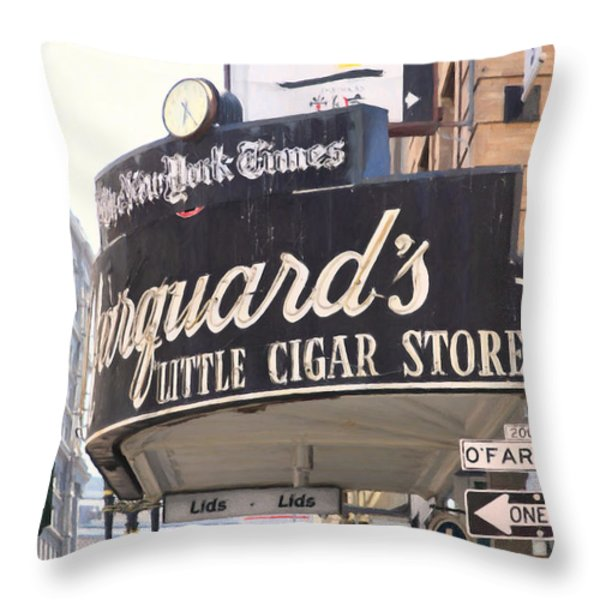 San Francisco Marquard's Little Cigar Store On Powell And O'farrell Streets - 5d17954 - Painterly Throw Pillow by Wingsdomain Art and Photography
