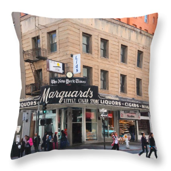 San Francisco Marquards Little Cigar Store on Powell Street - 5D17950 - Painterly Throw Pillow by Wingsdomain Art and Photography