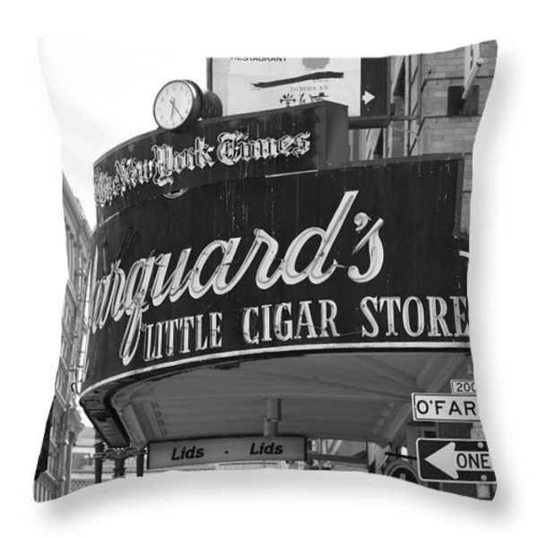 San Francisco Marquard's Little Cigar Store Powell and O'Farrell Streets - 5D17954 - black and white Throw Pillow by Wingsdomain Art and Photography