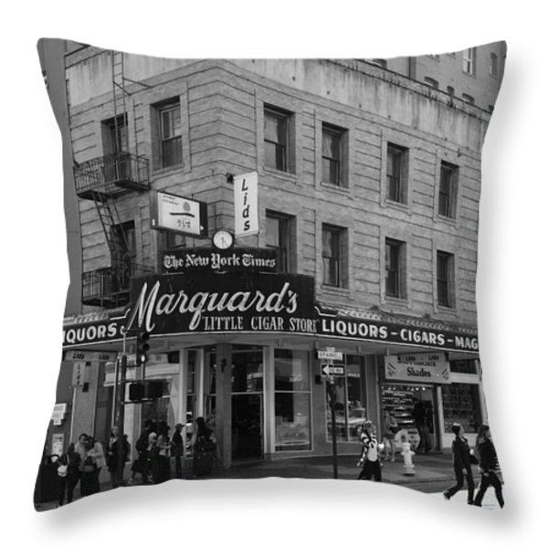 San Francisco Marquards Little Cigar Store Powell Street - 5D17950 - black and white Throw Pillow by Wingsdomain Art and Photography