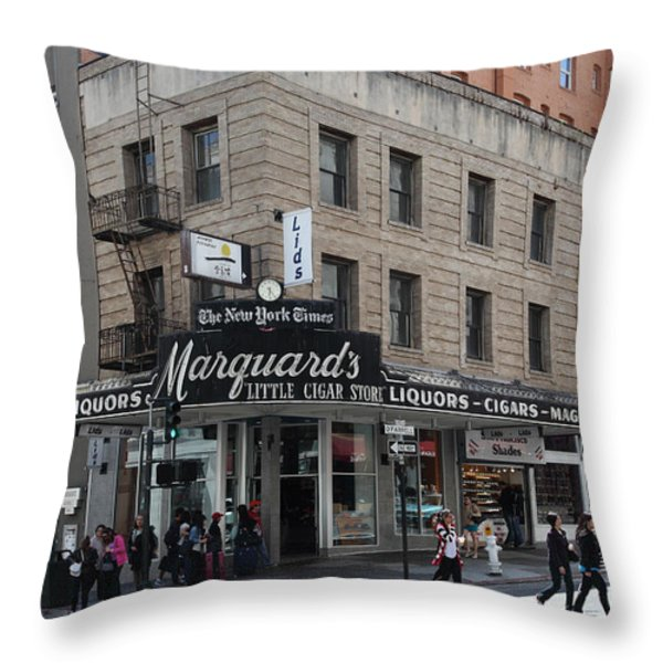 San Francisco Marquards Little Cigar Store Powell Street - 5D17950 Throw Pillow by Wingsdomain Art and Photography