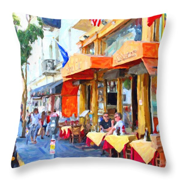 San Francisco North Beach Outdoor Dining Throw Pillow by Wingsdomain Art and Photography