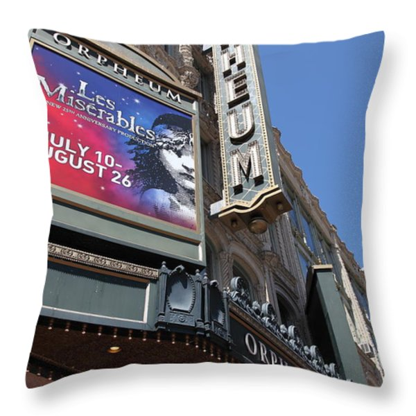 San Francisco Orpheum Theatre - 5d17990 Throw Pillow by Wingsdomain Art and Photography