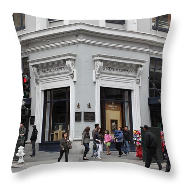 San Francisco Shreve And Company On Grant Street - 5d17920 Throw Pillow by Wingsdomain Art and Photography