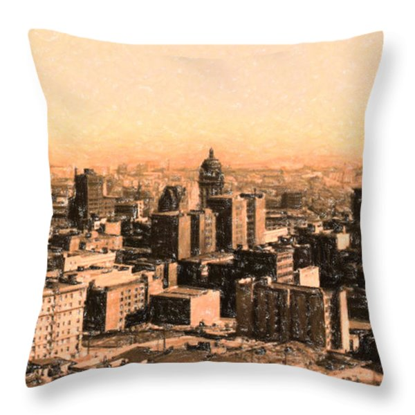 San Francisco Skyline 1909 Showing South Of Market Street Throw Pillow by Wingsdomain Art and Photography