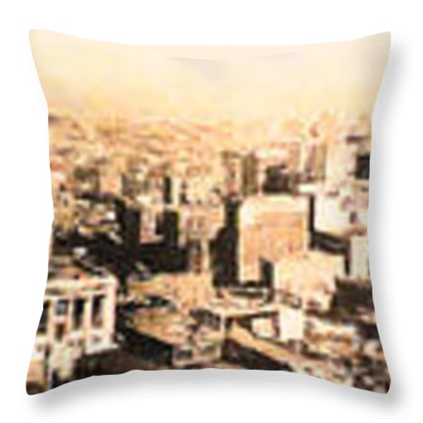 San Francisco Skyline Panorama 1909 From The Ferry Building Through South of Market Throw Pillow by Wingsdomain Art and Photography