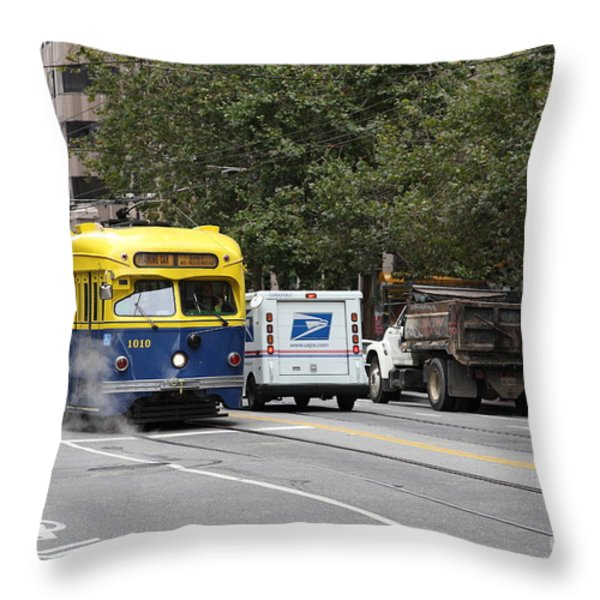San Francisco Vintage Streetcar On Market Street - 5d17849 Throw Pillow by Wingsdomain Art and Photography