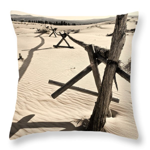 Sand and Fences Throw Pillow by Heather Applegate