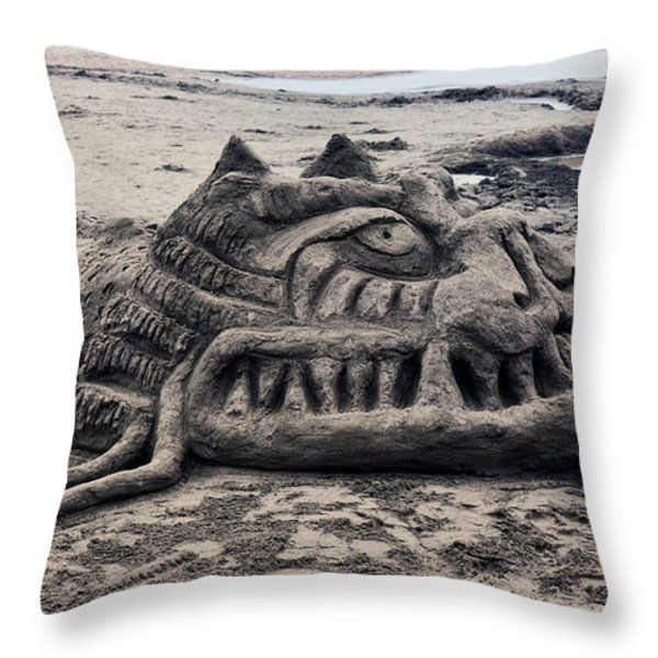 Sand Dragon Sculputure Throw Pillow by Garry Gay