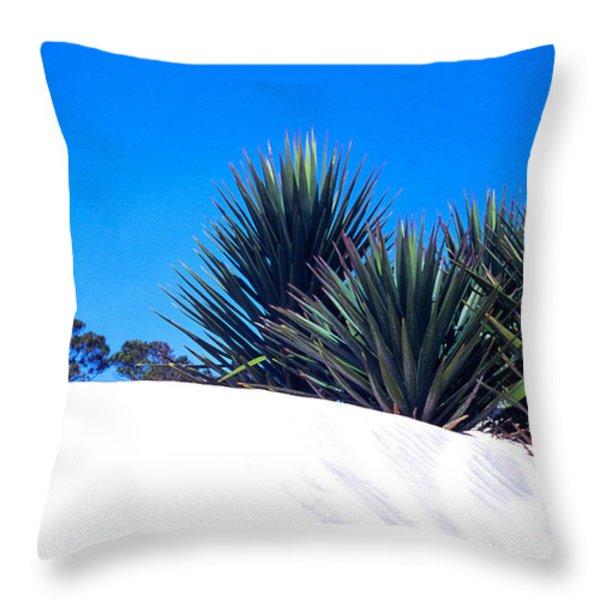 Sand Dune And Spanish Bayonet Throw Pillow by Thomas R Fletcher