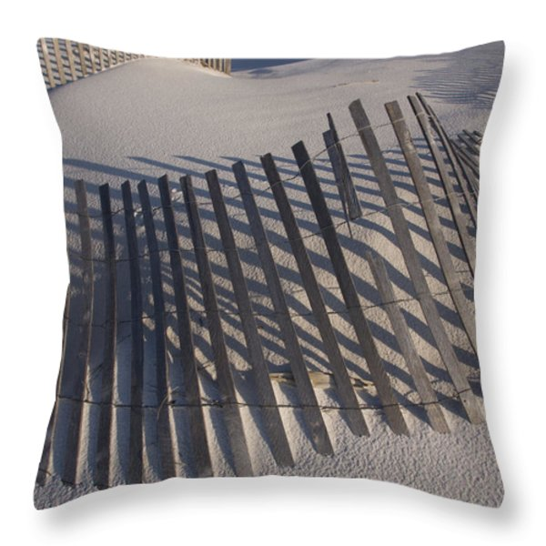Sand Fence On The Beach In Destin Throw Pillow by Marc Moritsch