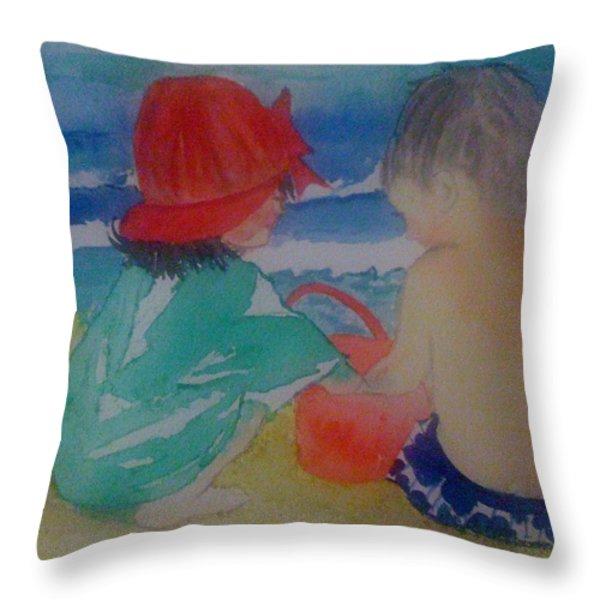 Sand Play Throw Pillow by Judi Goodwin