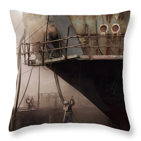 Sandblasters Restore A Soviet Ship Throw Pillow by Cotton Coulson