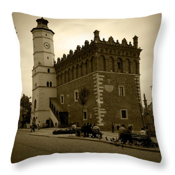 Sandomierz Sepia Throw Pillow by Kamil Swiatek