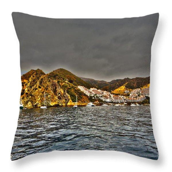 Santa Catalina Island Throw Pillow by Cheryl Young