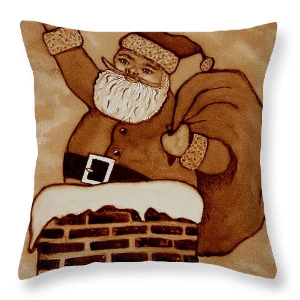Santa Claus Is Coming Throw Pillow by Georgeta  Blanaru
