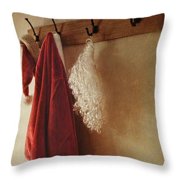 Santa Costume Hanging On Coat Rack Throw Pillow by Sandra Cunningham