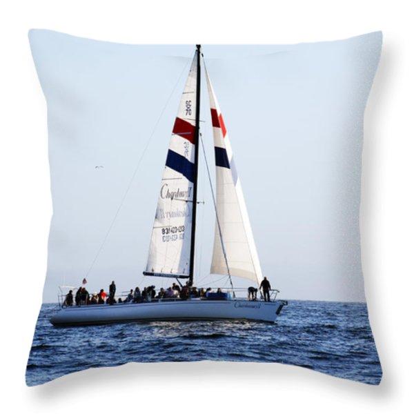 Santa Cruz Sailing Throw Pillow by Marilyn Hunt
